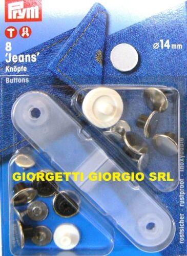 BOTTONI JEANS 14mm PRYM Argento Liscio lucido pantaloni bottone bambino 622201