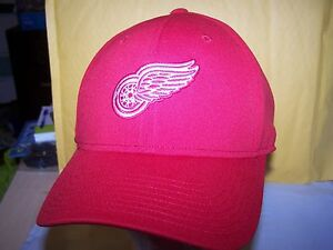 3ff1e32f8fa30 Detroit Red Wings- STRETCH FITTED HAT CAP LARGE - RED -NHL-AMERICAN ...