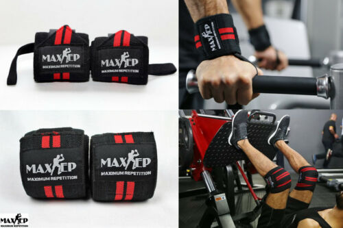 MaxRep Power Weight Lifting Strength Knee and Wrist supports Gym Wraps Straps