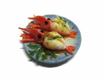 Set of 4 Seafood on Plates Dollhouse Miniatures Food Supply Deco Barbie Set 1