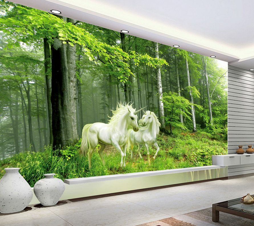 3D Mega Forest Unicorn Couple 303 Wall Paper Wall Print Decal Wall AJ Wall Paper