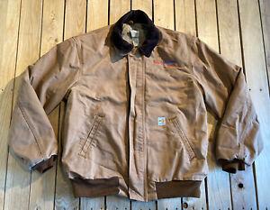 Carhartt-FR-Fire-Resistant-Men-s-Zip-Up-heavy-Duty-Coat-Size-M-In-brown