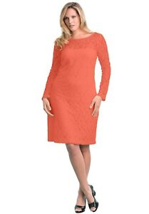 Details about New Jessica London Coral Lace Knee Length Shift Party Women  Dress 20 Plus Size