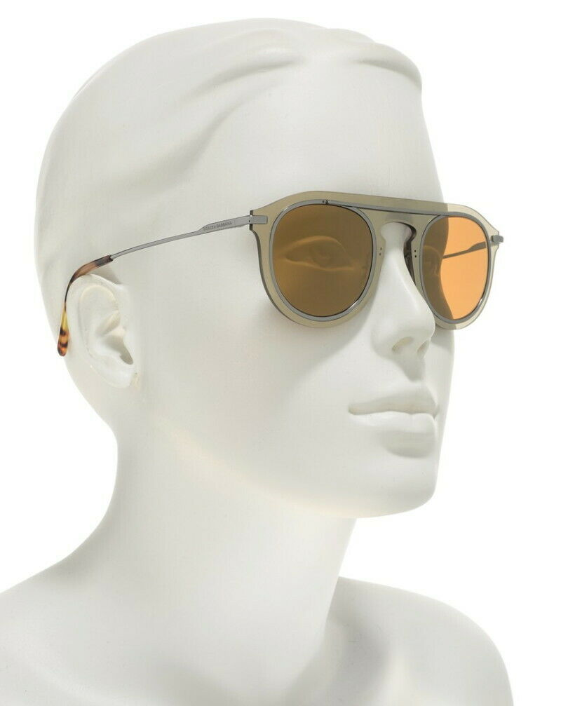 Dolce Gabbana Round Mirror Sunglasses Pale Gold 48-26-145mm Made in Italy