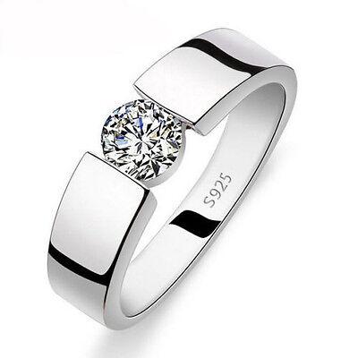 Solitaire Jewelry Men White Topaz Diamonique 925 Silver Wedding Band Ring Sz 9/R