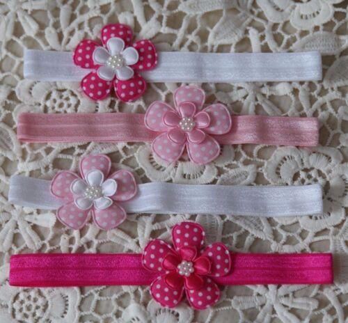 Neu Baby Mädchen Stirnband Haarband Kopfband Fotoshooting Blume pink rosa weiß