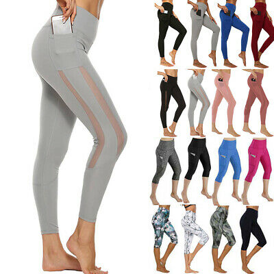Women Sports Yoga Pants Leggings Pocket Compression Gym Fitness Stretch Trousers