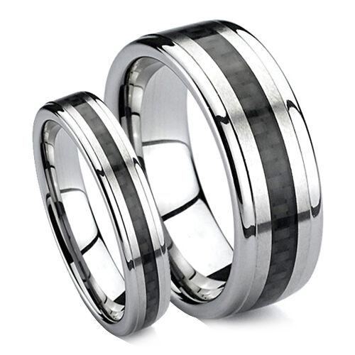 Matching Wedding Band Set Tungsten Rings Black Carbon Fiber Inlaid 8MM & 6MM