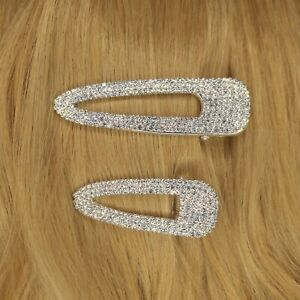 Gold Pave Rhinestone Crystal Diamante Pearl Luxe Hair Clip Slide Girl Lady H12