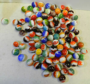 #12452m Vintage Group or Bulk Lot of 100 Mostly Vitro Agate All Red Marbles