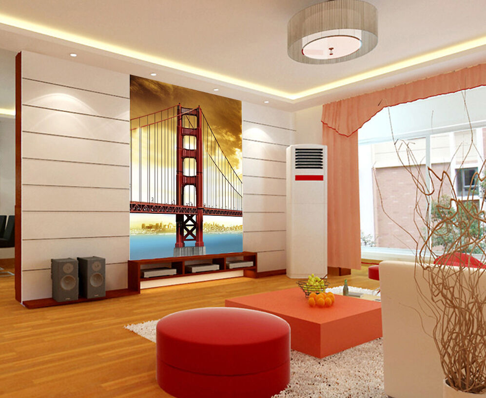 3D City River Long Bridge 62 Wallpaper Decal Decor Home Kids Nursery Mural Home