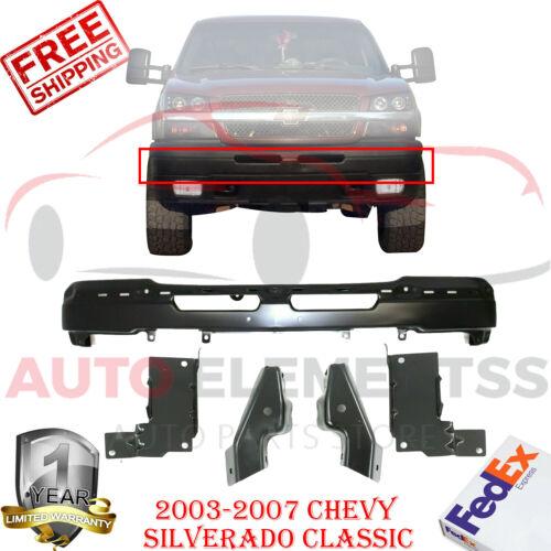 Front Bumper Black Bracket Set For 2003-2007 Chevy Silverado 1500 2500 3500