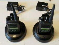 Lot Of 2 Motorola Cp185 Two Way Radio Uhf With 2 Desktop Chargers Aah03rdf8aa7an