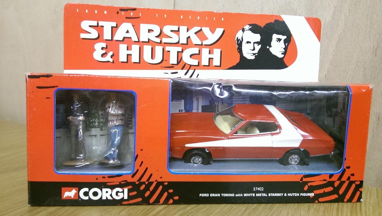 CORGI 57402 Diecast STARSKY & HUTCH FORD GRAN TORINO + Figure in metallo bianco