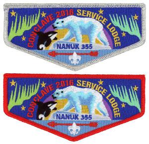 Nanuk-Lodge-355-OA-2016-Conclave-Flap-Boy-Scout-Patch-Order-of-the-Arrow-Set-BSA
