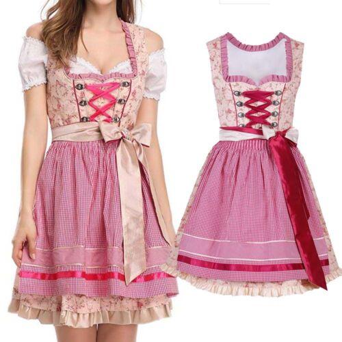 UK German Oktoberfest Bavarian Beer Wench Costume Maid Fancy Dirndl Dress Crop