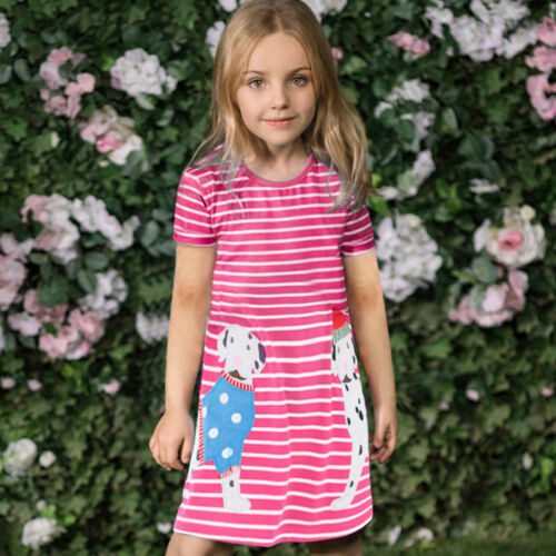 Toddler Baby Kids Girls Cartoon Shirt Dress Striped Animals Outfits Clothes New
