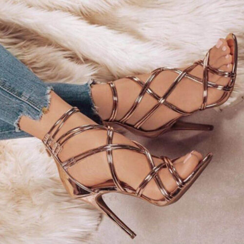 Ladies Stiletto High Heel Sandals Women Open Toe Cross Strap Heels Wedding Party