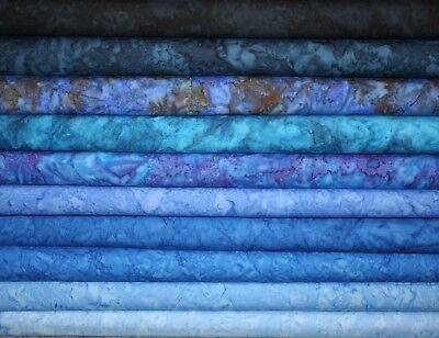 10 X cuarto Gordo Batik Moody Azul Paquete 100/% algodón