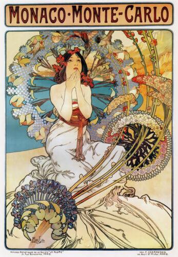 TX129 Vintage Monaco Monte Carlo Travel Tourism Mucha Poster Re-Print A3//A4