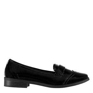 Miso Kids Girls Loafers Slip On Shoes Slight Heel Tonal Stitching Textured
