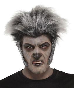 herren grau wolf wolfman werwolf dumm kost m per cke halloween neu ebay. Black Bedroom Furniture Sets. Home Design Ideas