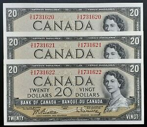 1954-Bank-of-Canada-20-Beattie-Rasminsky-Set-of-3-Consecutive-S-E-Prefix-BC-41b