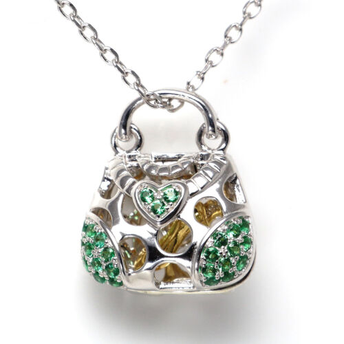 """Solid 925 Sterling Silver Cubic Zirconia CZ Gemstones Pendant Necklace 18/"""" Chain"""