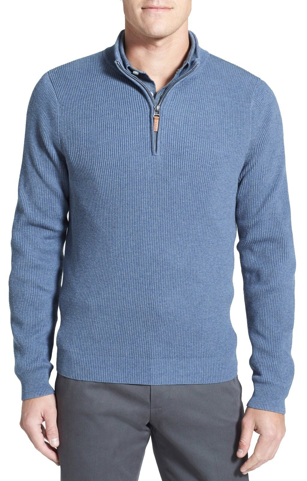 NORDSTROM Men's bluee 1 2 Zip Ribbed Knit Cotton Cashmere Sweater Sz.XXL  NWT