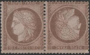 FRANCE-STAMP-TIMBRE-N-58-c-034-CERES-10c-BRUN-SUR-ROSE-PAIRE-TETE-BECHE-034-NEUFx-TB