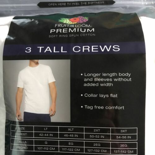 Fruit of the Loom Tag Free Crew Neck T shirts White 3XB 4XB 5XB 2XT
