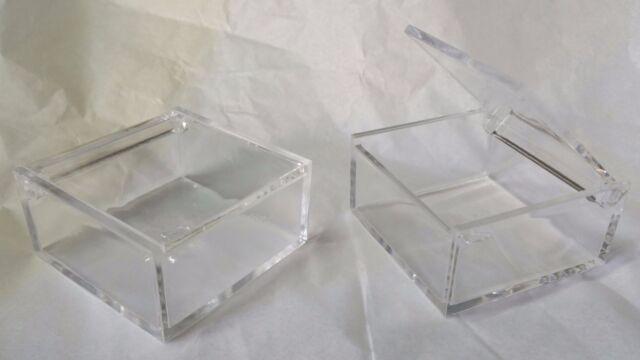 10 50 100 SCATOLE BOMBONIERE PLEXIGLASS 6X6X3 CM BOX PORTA CONFETTATA MATRIMONIO