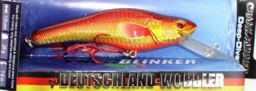 8m tief-Grundel Profi Blinker Crank Runner Tieftauch Wobbler 11,5cm//33 Gramm