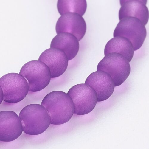 Strand 200 4mm Frosted Purple Glass Plain Round Beads UK
