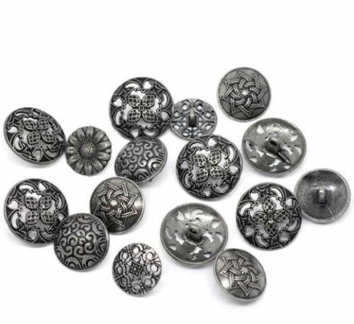Silver Tone Carved Sewing Metal Buttons 17mm-23mm 5pcs-in-Pack FREE SHIPPING!