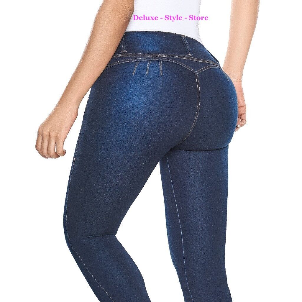 JEANS COLOMBIANOS LEVANTA COLA blueE DENIM BUTT LIFTER JEANS. LATY pink 2018