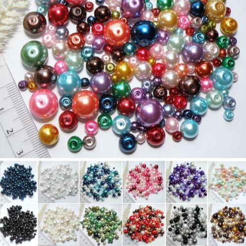 bunte FARBWAHL 4-12mm Perlen IMITAT Glaswachs Perlen 150stk GRÖßEN-MIX