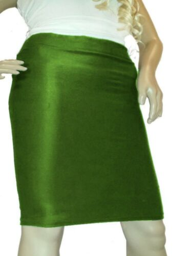 Grüner Stretch Bleistift Rock Gr 34-52 Baumwolle viele Längen