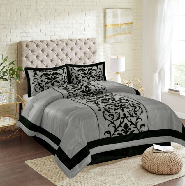 Black 10 Piece Bed In a Bag Chevron Comforter Set SHEET SET INCLUDED