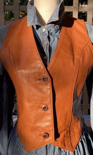 Vintage 70's Casablanca Fitted Orange Brown Leathe
