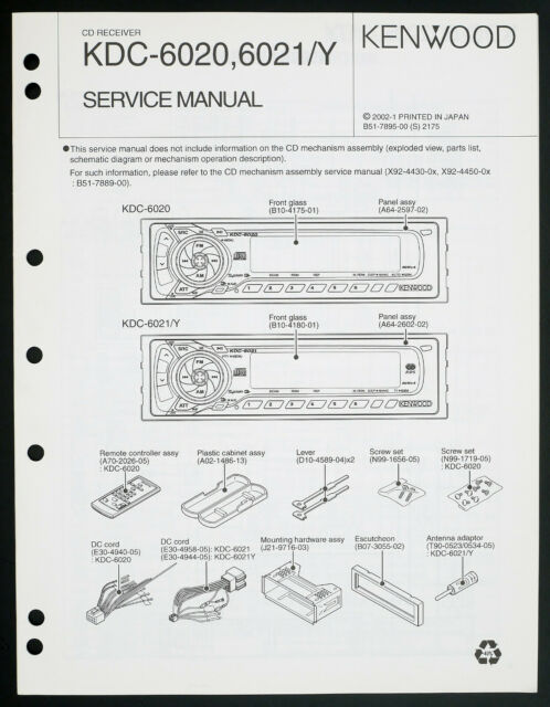Kenwood Kdc 6021 Original Car Audio Cd Receiver Service Manual  Diagram