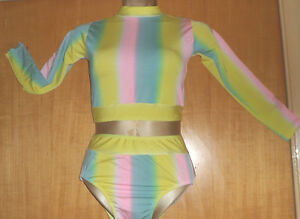 YELLOW-PINK-GREEN-CROP-TOP-AND-PANT-DANCE-GYMNASTIC-OUTFIT-7-9-YEAR-COSTUME