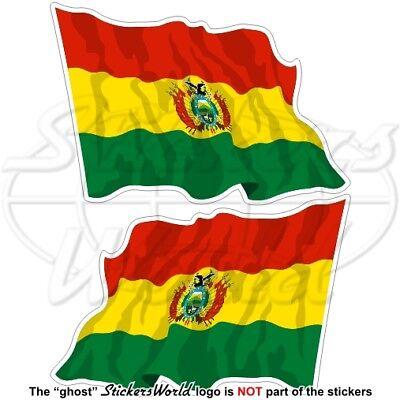 Bolivien Bolivianische Wehende Staatsflagge 75mm Auto Aufkleber X2 Stickers