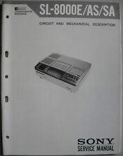 SONY SL-8000E 8000AS 8000SA Circuit and Mechanical Description