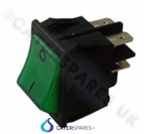16 Amp Verde Rocker Switch Power On Off Doble Polo 4 Pin 22 X 31mm 230v parte