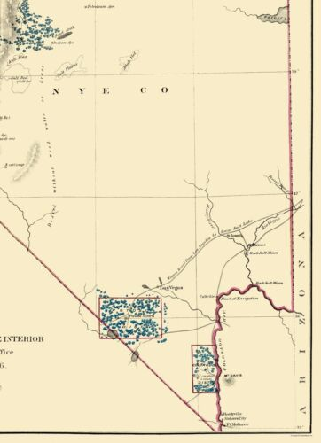 Mine Map Nevada Mining General Land Office 1866-23.00 x 31.77