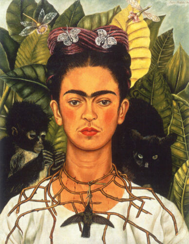 """Self-Portrait with Necklace of Thorns  by Frida Kahlo  14/""""  Paper Print Repro"""