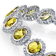 925 Sterling Silver Round Bezel Canary Yellow Cubic Zirconia Tennis Bracelet CZ