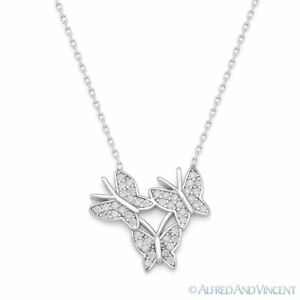 jewellerybox Sterling Silver /& CZ Crystal Butterfly w Black Rhodium Necklace 20 Inches