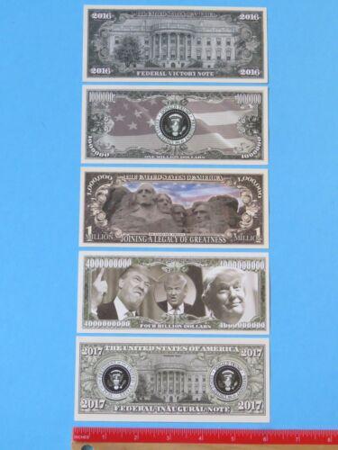 5 Different President of USA DONALD TRUMP $1,000,000 One Million Dollar Bills